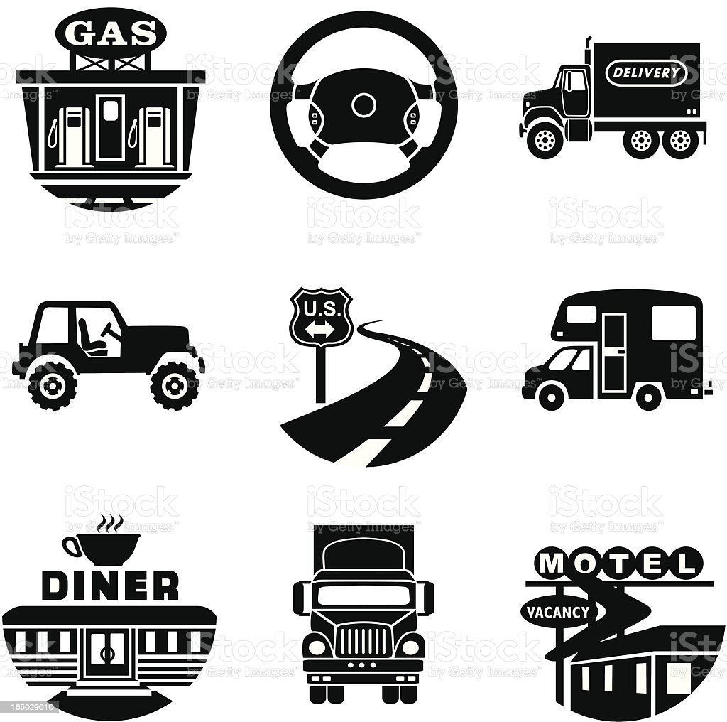 down the road icons vector art illustration