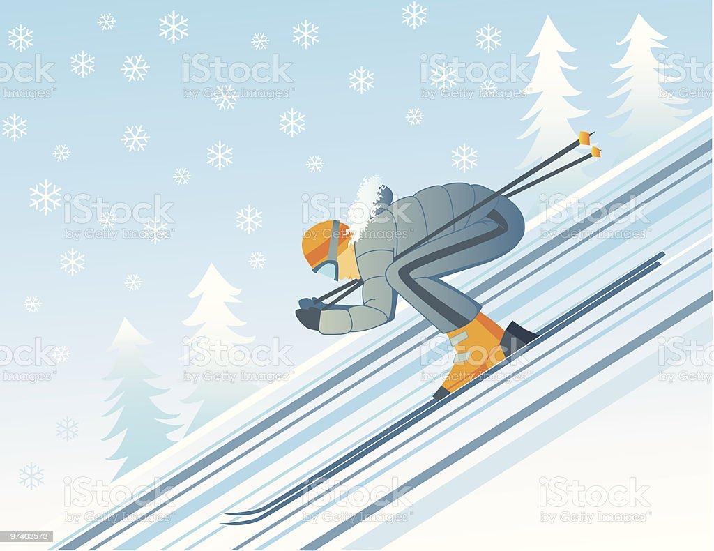 Down the slope vector art illustration