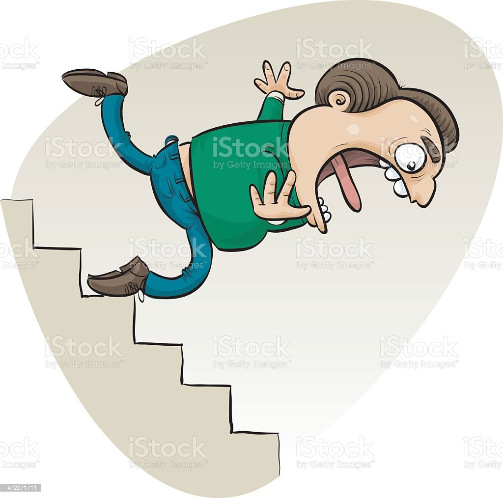 Down the Stairs vector art illustration