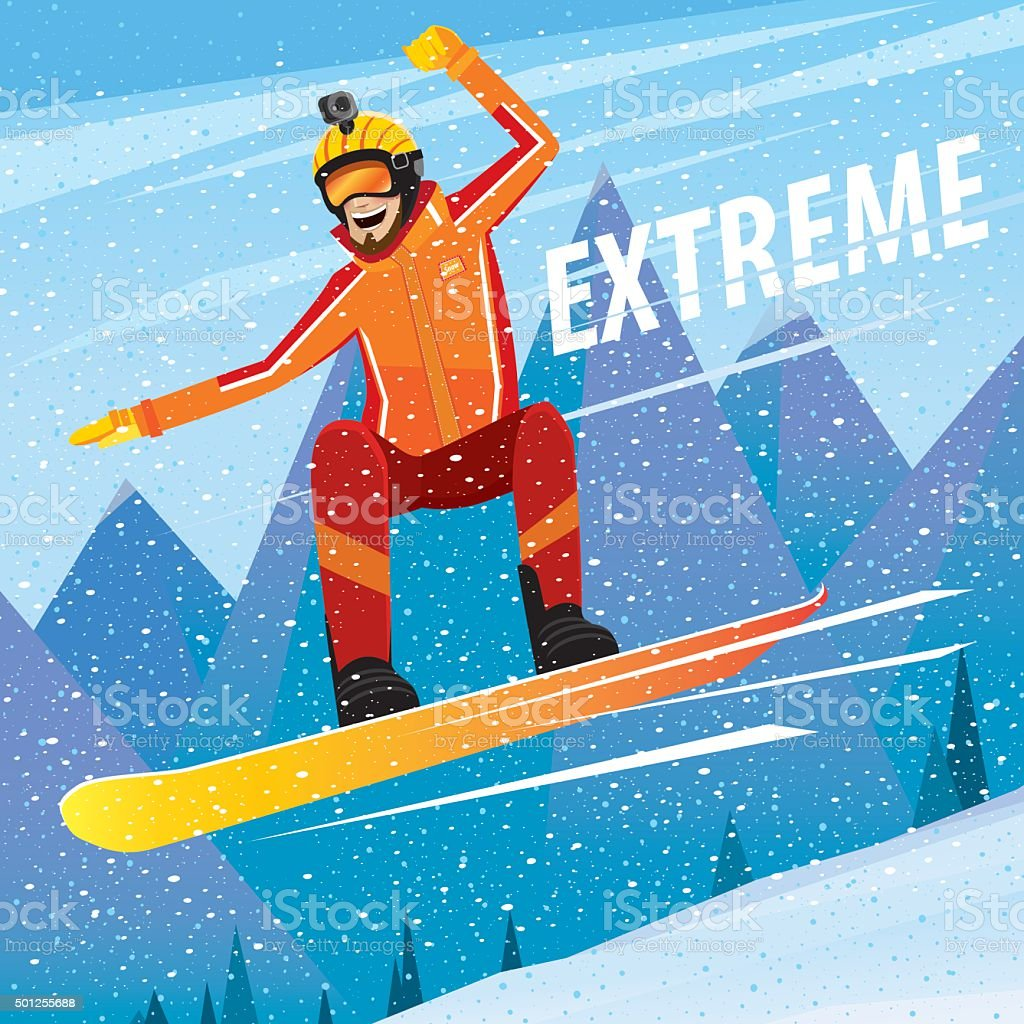 Downhill from the mountain on a snowboard vector art illustration