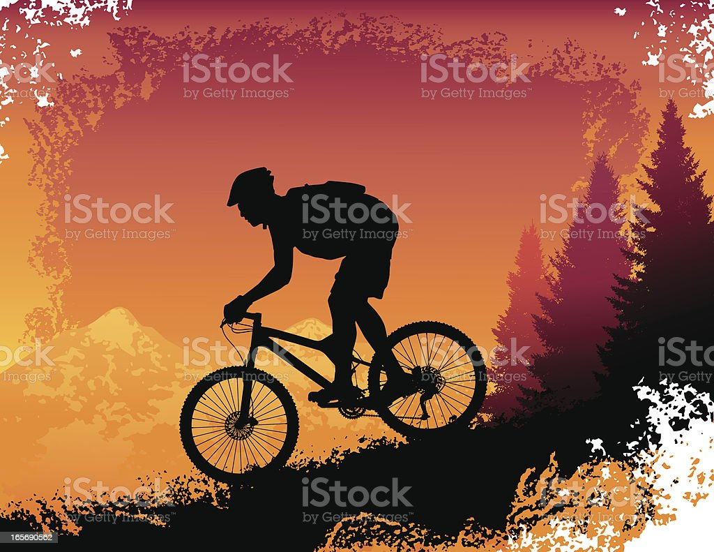 Downhill Mountain Bike Ride at Sunset vector art illustration
