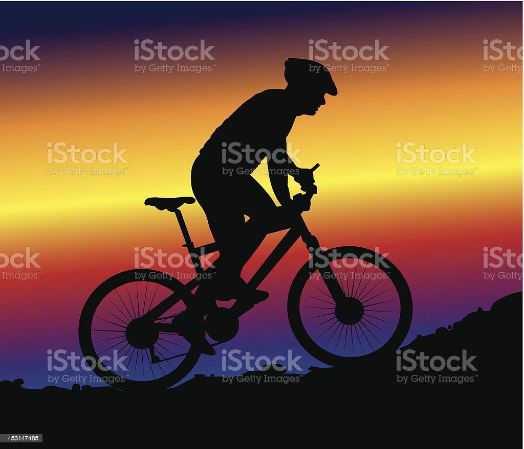 downhill mountain biking - background vector art illustration
