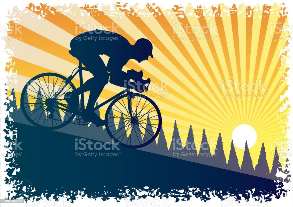 Downhill racing cyclist royalty-free stock vector art