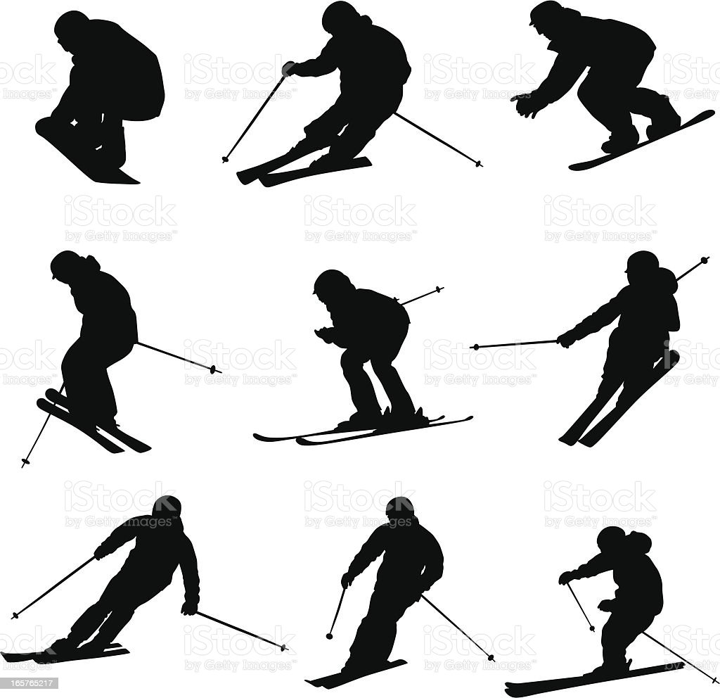 Downhill Skiers Vector Silhouette vector art illustration