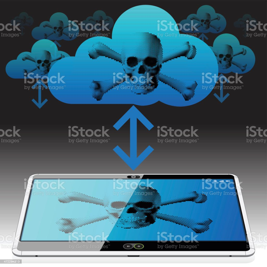 Download and Uploading illegal Pirated Content royalty-free stock vector art