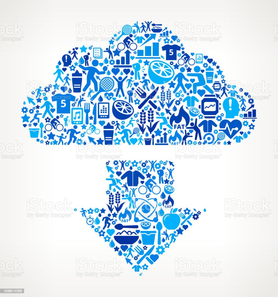 Download Cloud Fitness and Diet Icon Pattern vector art illustration