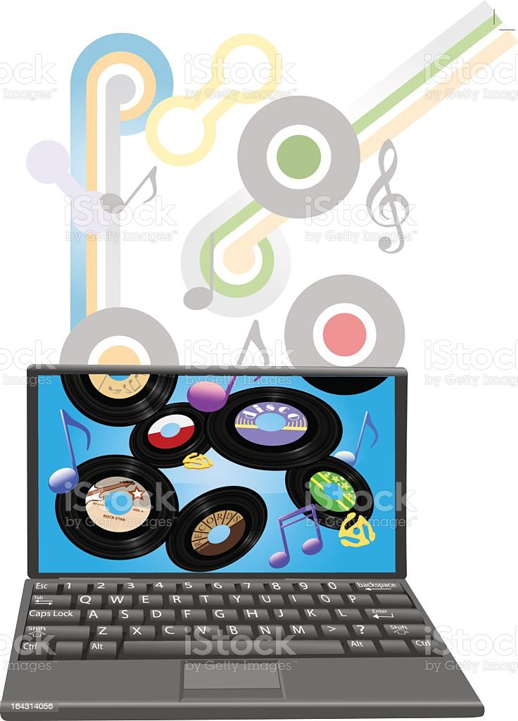 Download oldies music to a laptop computer royalty-free stock vector art