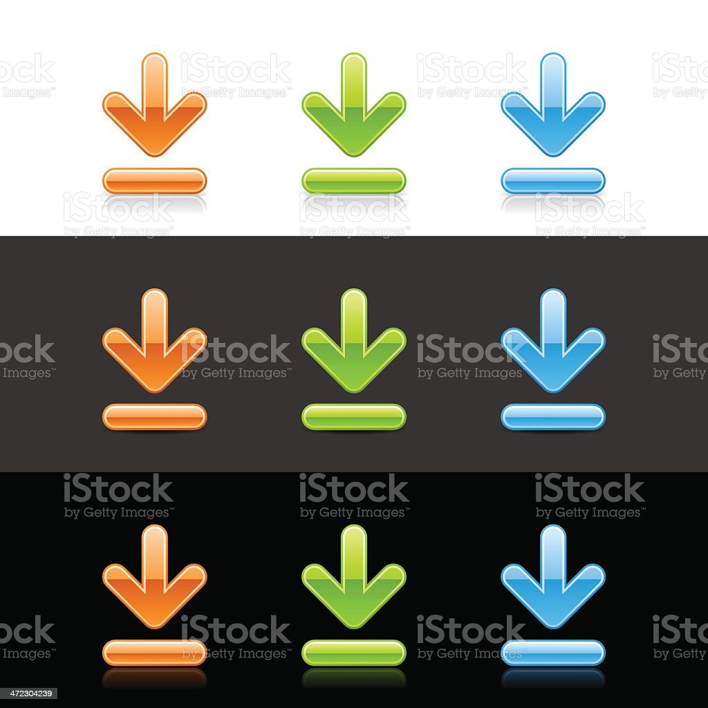 Download sign arrow icon orange green blue button shadow reflection royalty-free stock vector art
