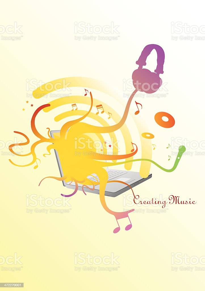 Downloading Music royalty-free stock vector art