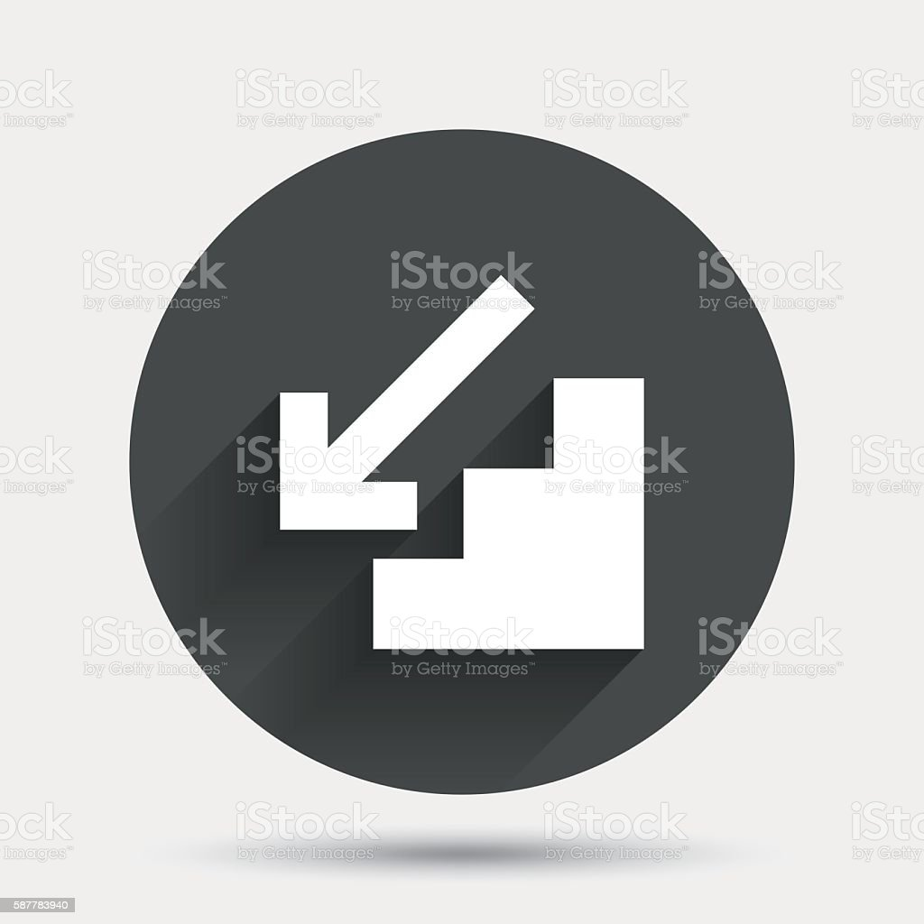 Downstairs icon. Down arrow sign. vector art illustration