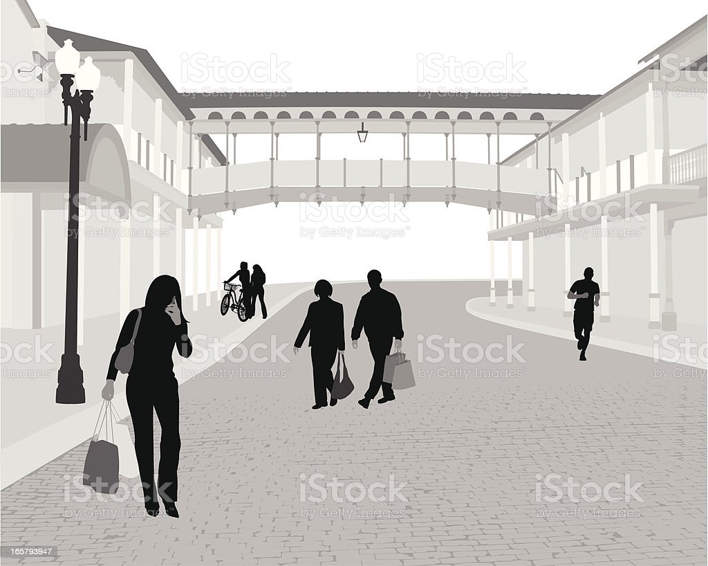Downtown Activities Vector Silhouette royalty-free stock vector art