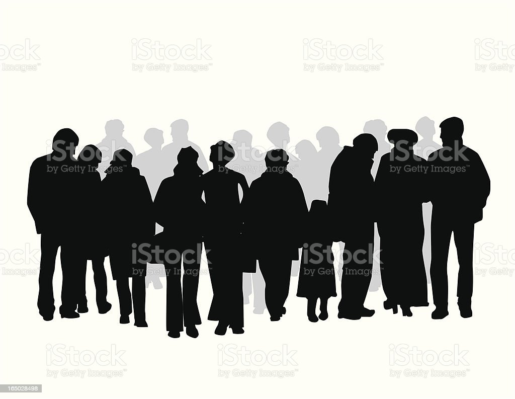 Downtown Crowd Vector Silhouette royalty-free stock vector art