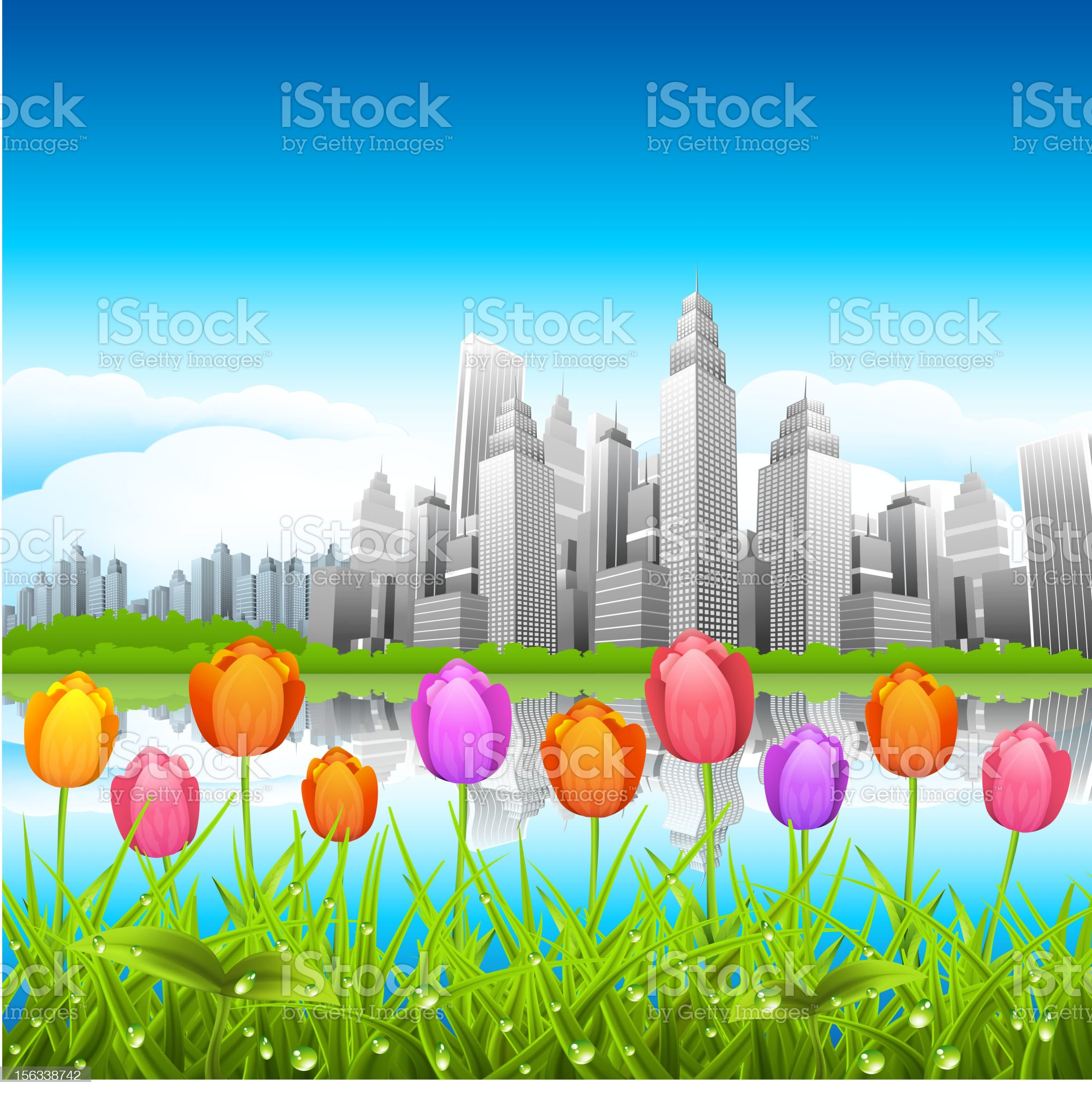 Downtown district royalty-free stock vector art