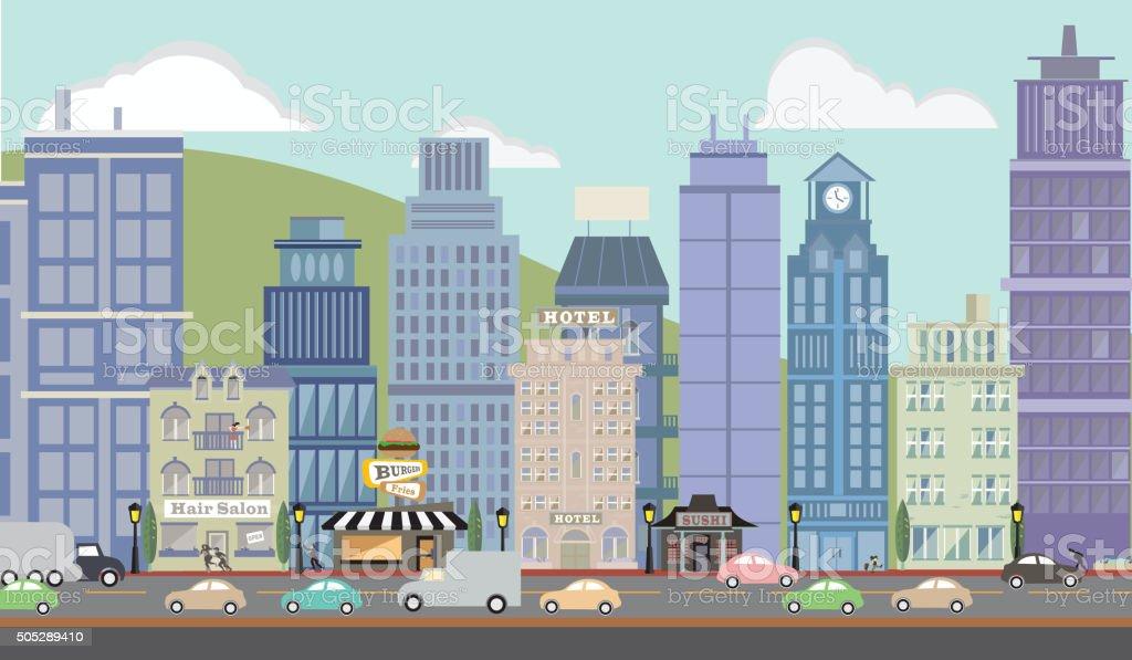 Downtown Metropolitan Cityscape vector art illustration