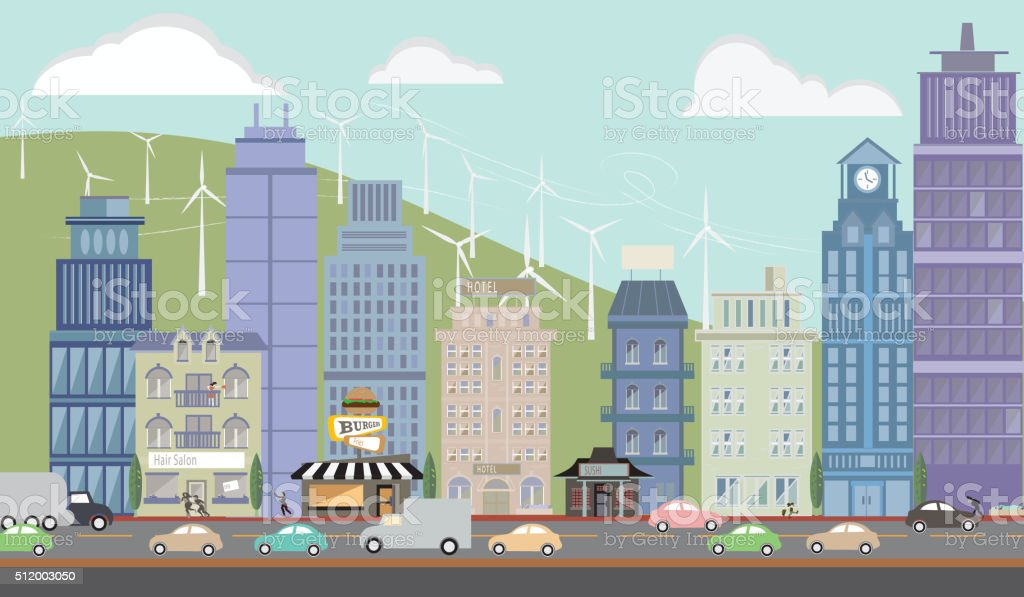 Downtown Metropolitan Cityscape vector art illustration