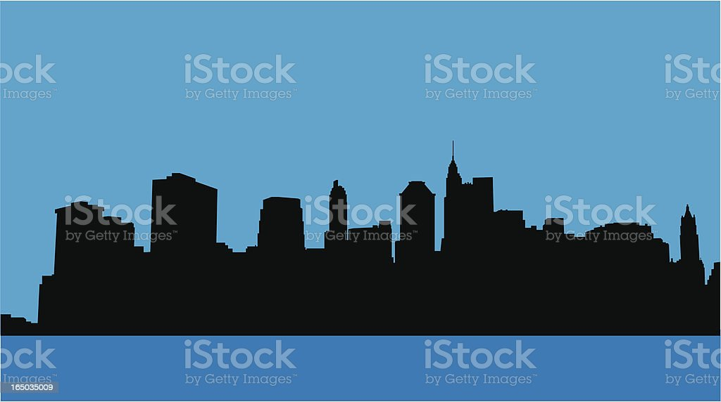Downtown NYC Skyline vector art illustration