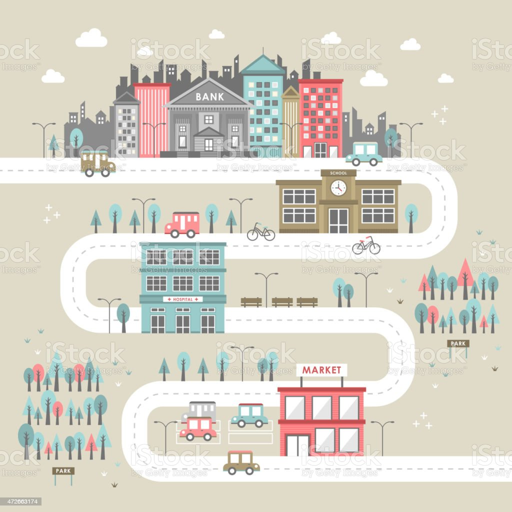 downtown scenery in flat design vector art illustration