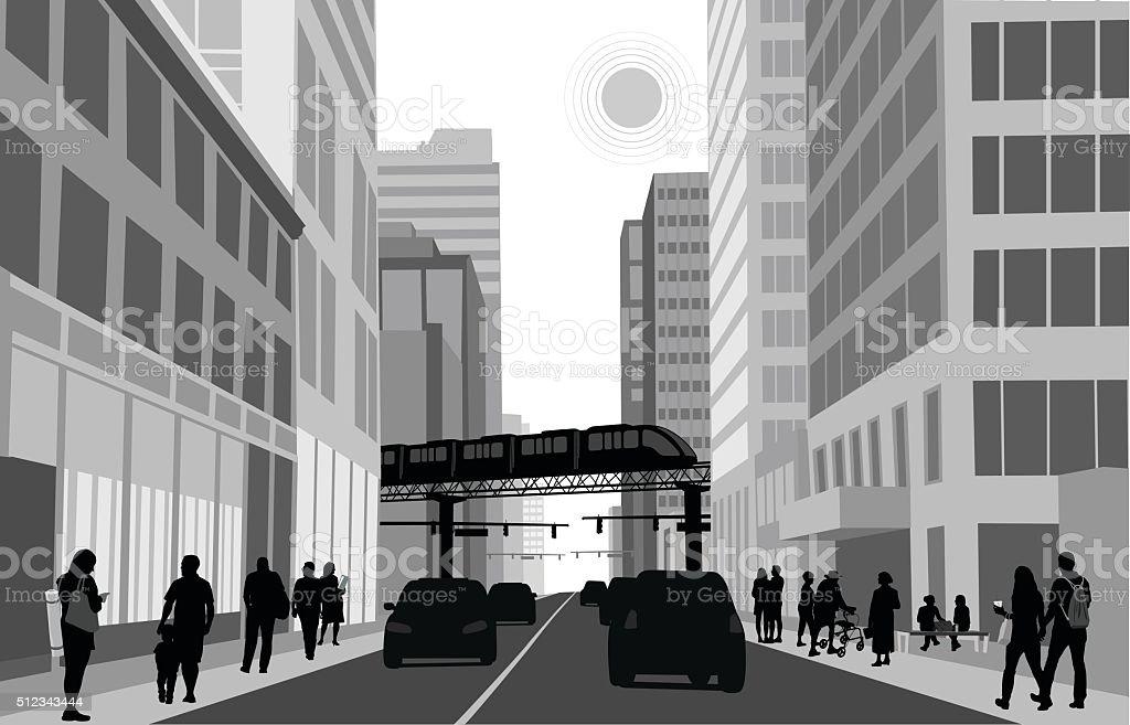 Downtown Train vector art illustration