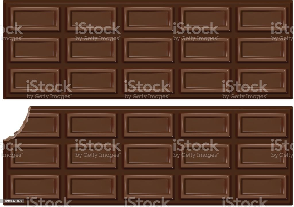 Down-view on two bars of chocolate isolated on white vector art illustration