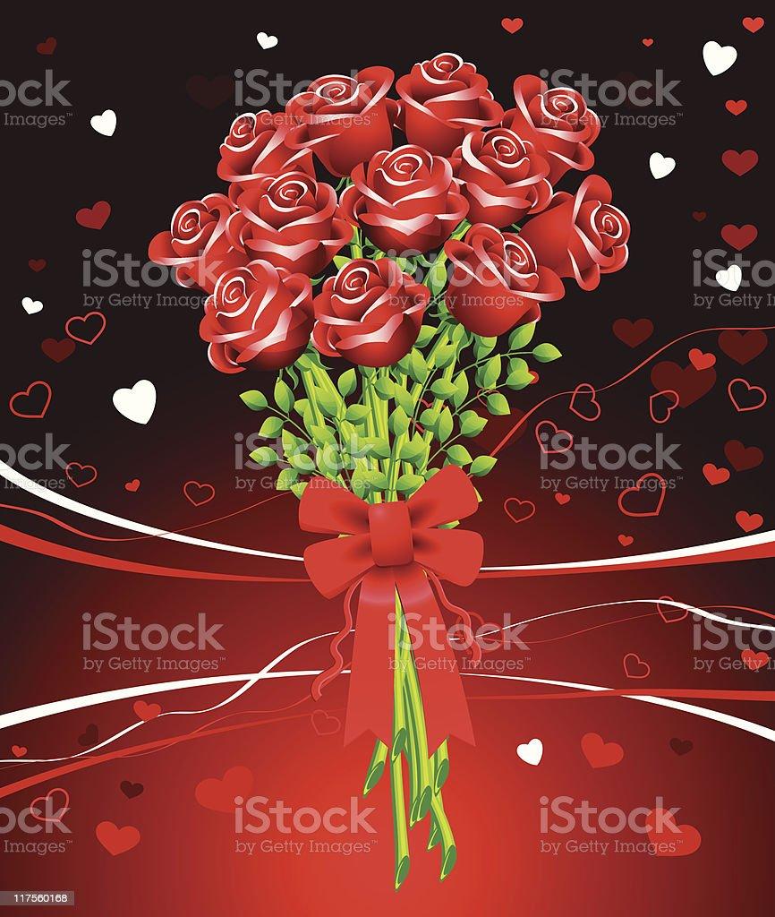 Dozen of roses on red Valentine's Day background vector art illustration