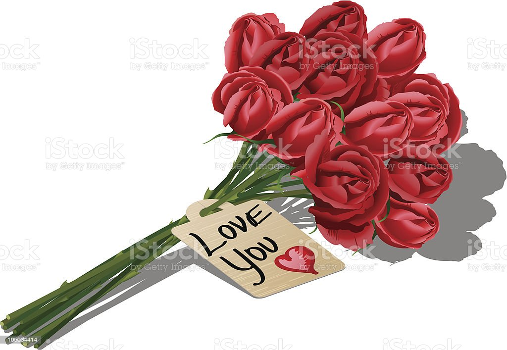 Dozen red roses and messages vector art illustration