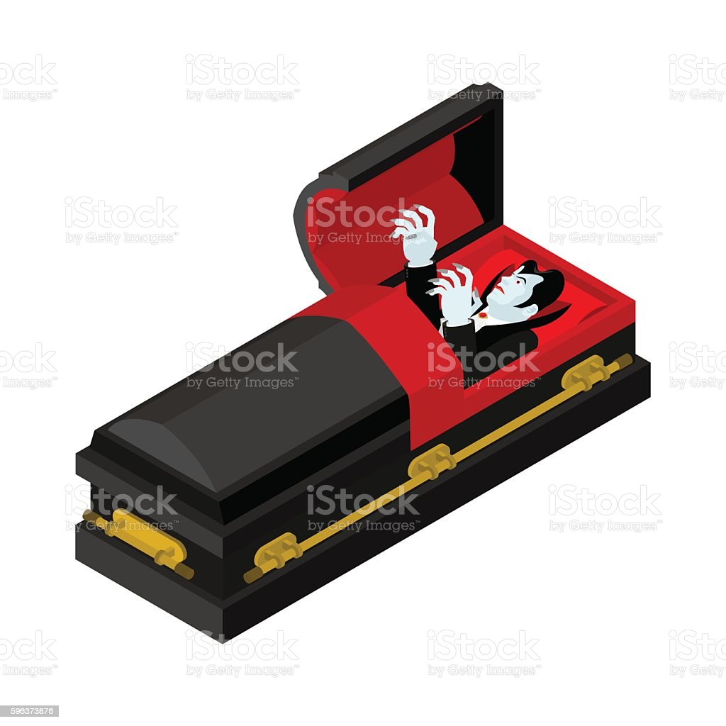 Dracula in coffin. Vampire Count in an open coffin vector art illustration