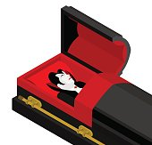 Dracula in coffin. Vampire Count in an open coffin.