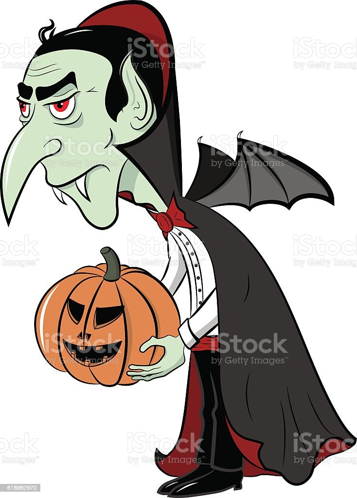 Dracula with pumpkin in his hands vector art illustration