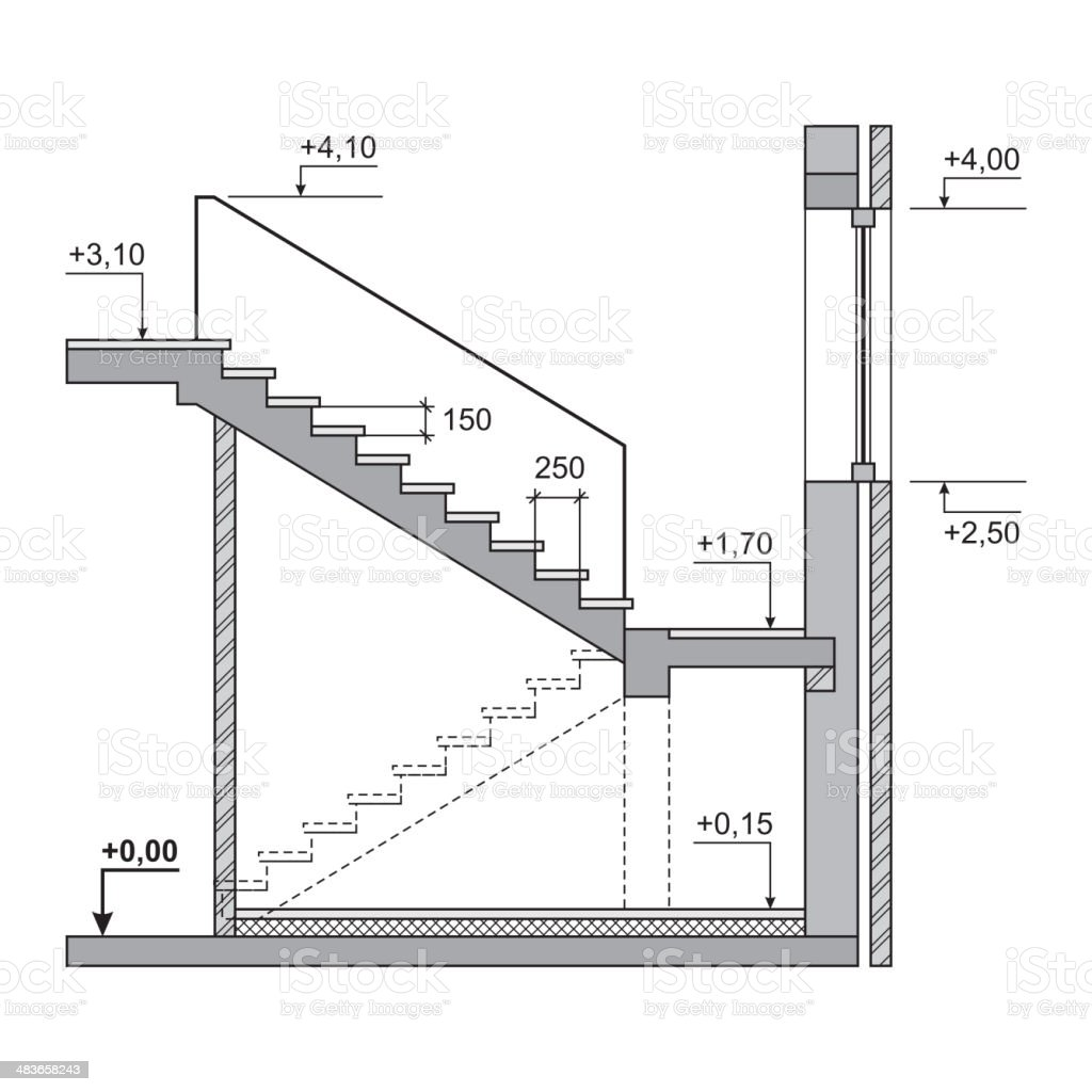 Draft Project Stairs on White Background. Vector royalty-free stock vector art