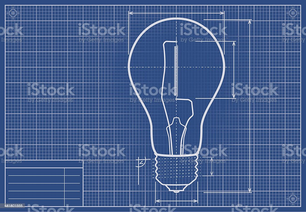 Drafted Light Bulb On Blueprint Paper vector art illustration
