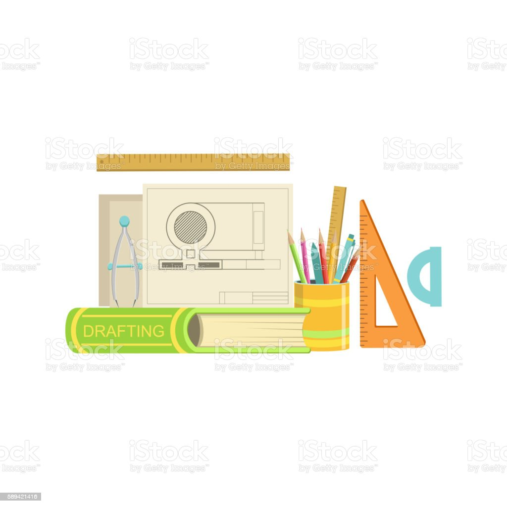 Drafting Class Set Of Objects vector art illustration
