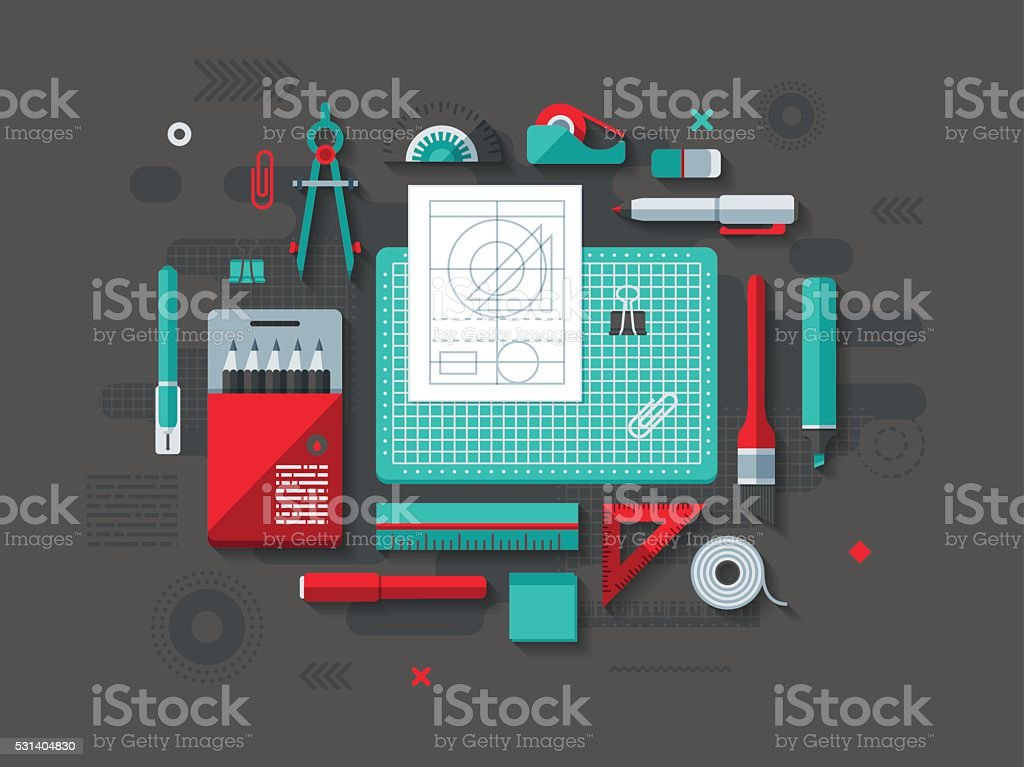 Drafting Flat Design Concept vector art illustration