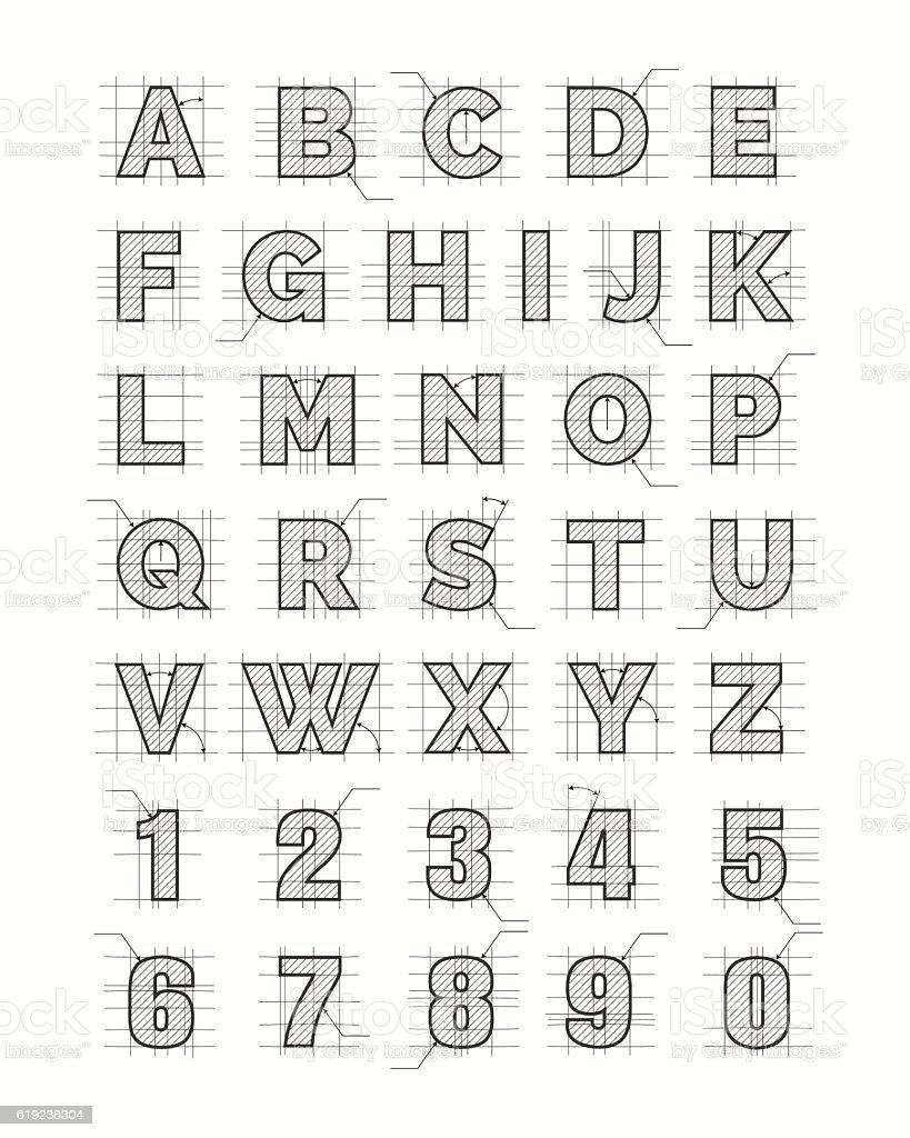 Drafting paper alphabet vector art illustration