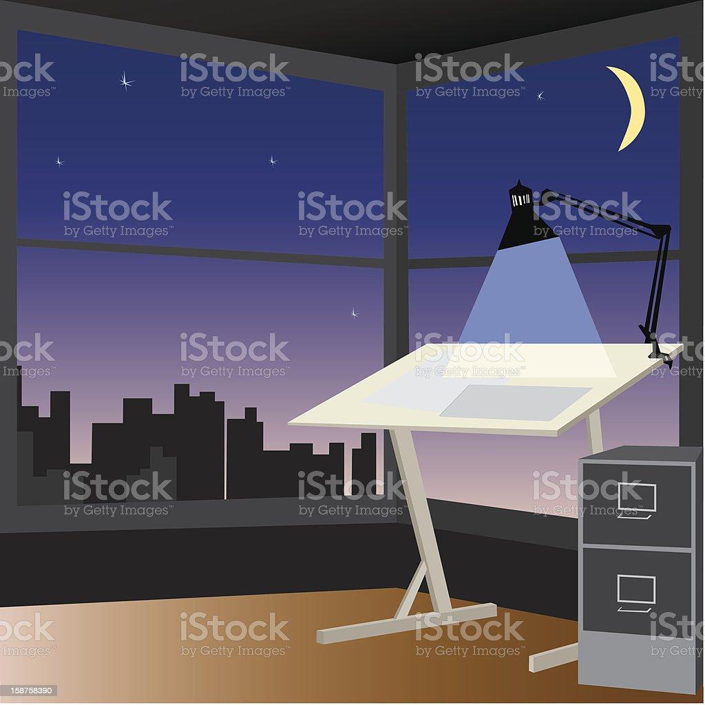 Drafting table at dusk royalty-free stock photo