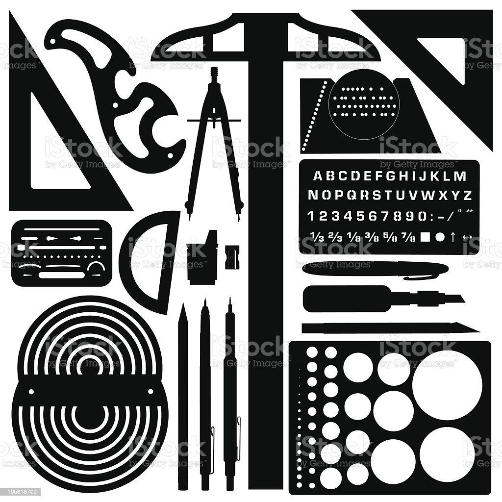 Drafting Tools Silhouettes vector art illustration