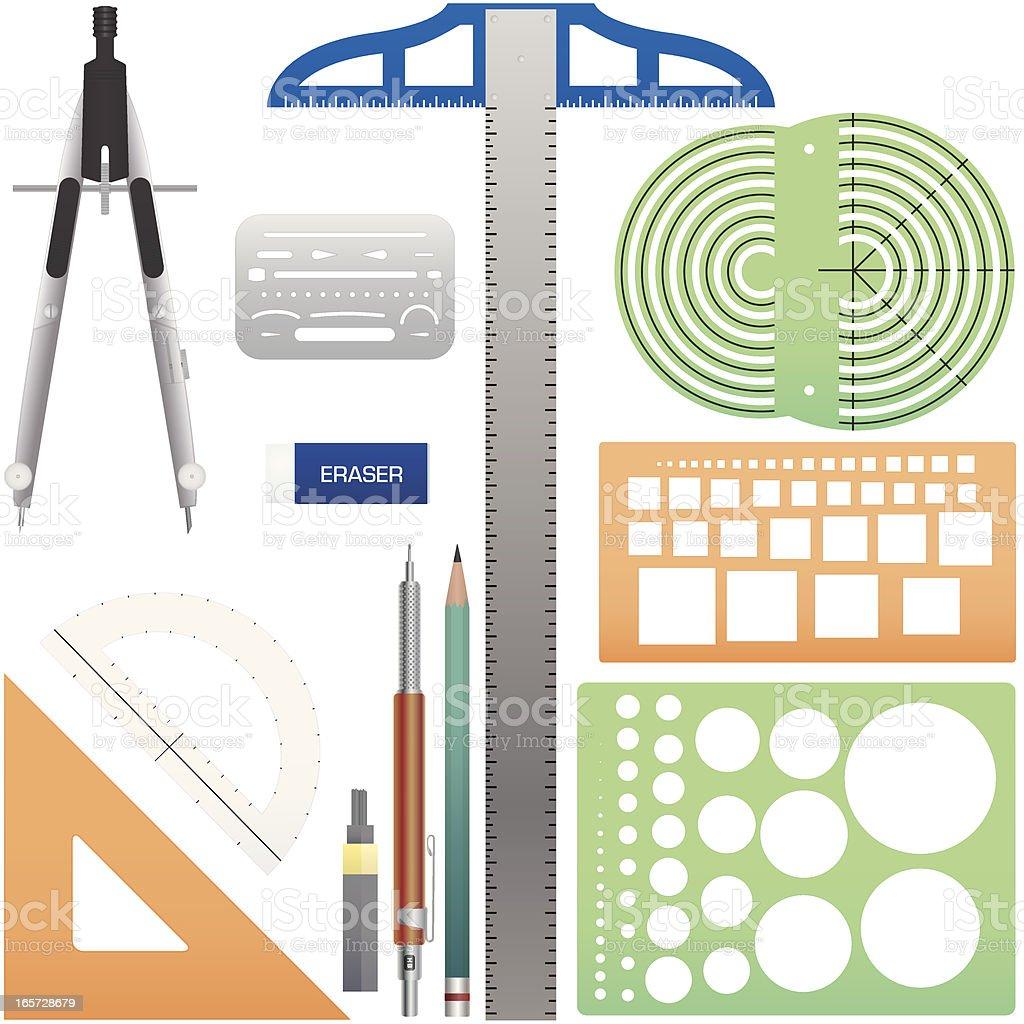 Drafting Tools vector art illustration