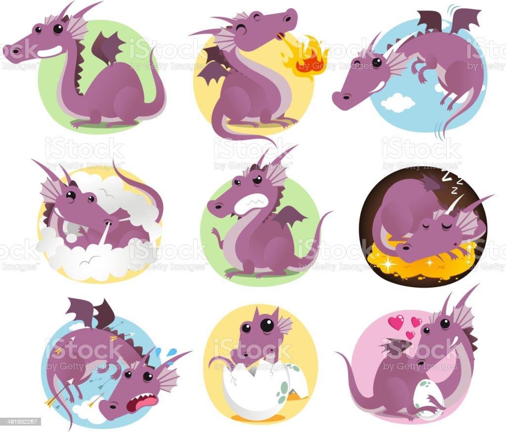 Dragon action set vector art illustration
