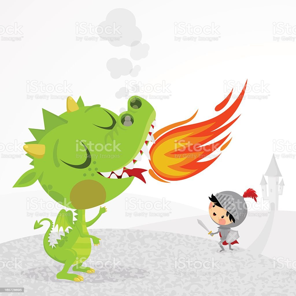Dragon and Knight vector art illustration