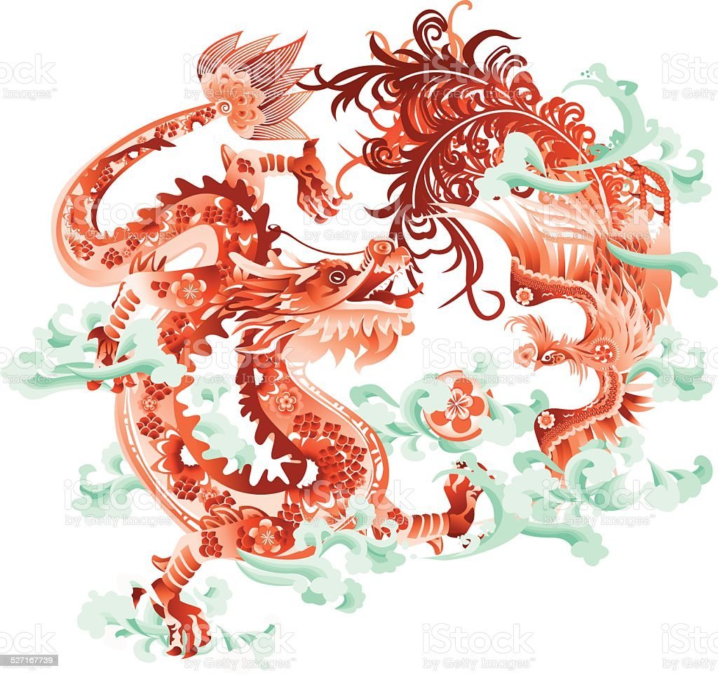 Dragon and Phoenix vector art illustration