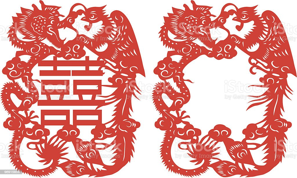Dragon and Phoenix royalty-free stock vector art
