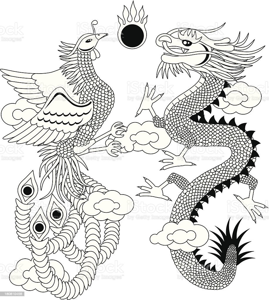 Dragon and Phoenix with Clouds Outline Vector Illustration royalty-free stock vector art