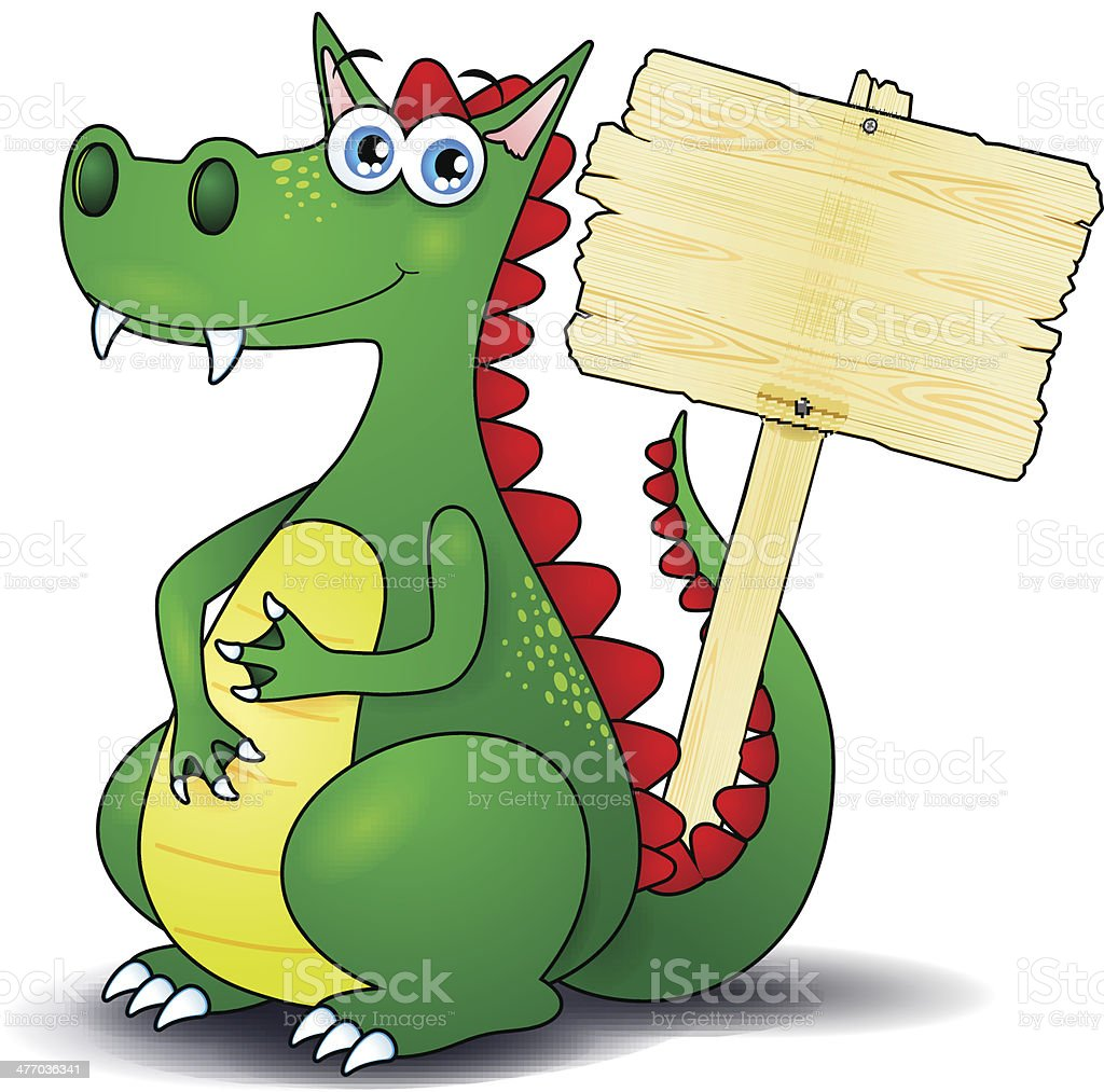 Dragon and wooden sign royalty-free stock vector art
