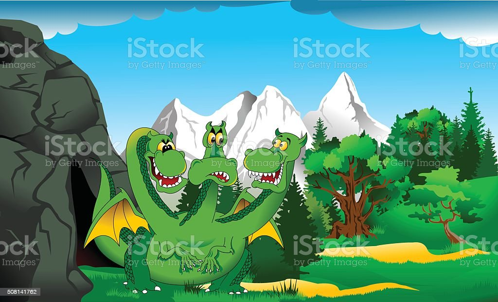 Dragon at the cave vector art illustration
