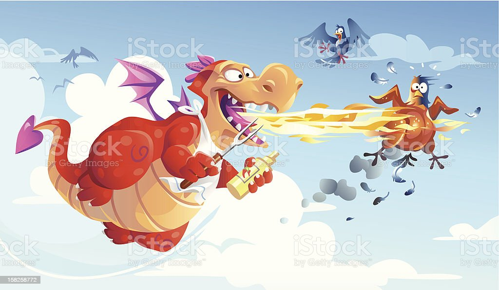 Dragon Barbecue royalty-free stock vector art