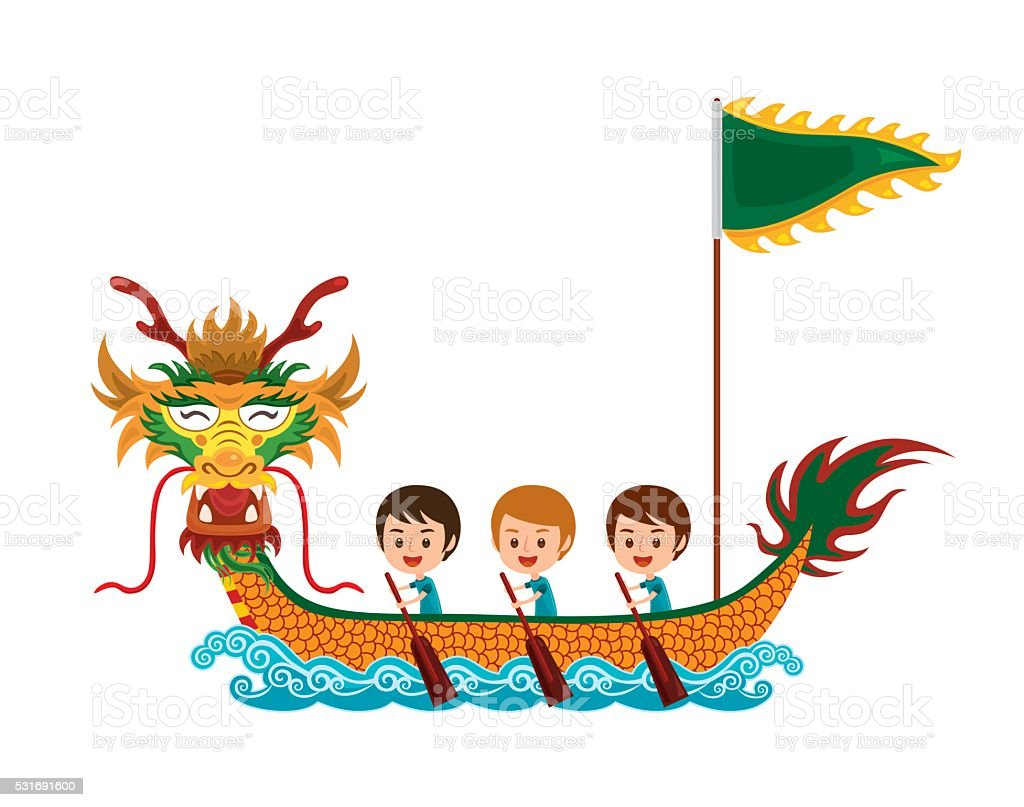 Dragon boat race vector art illustration