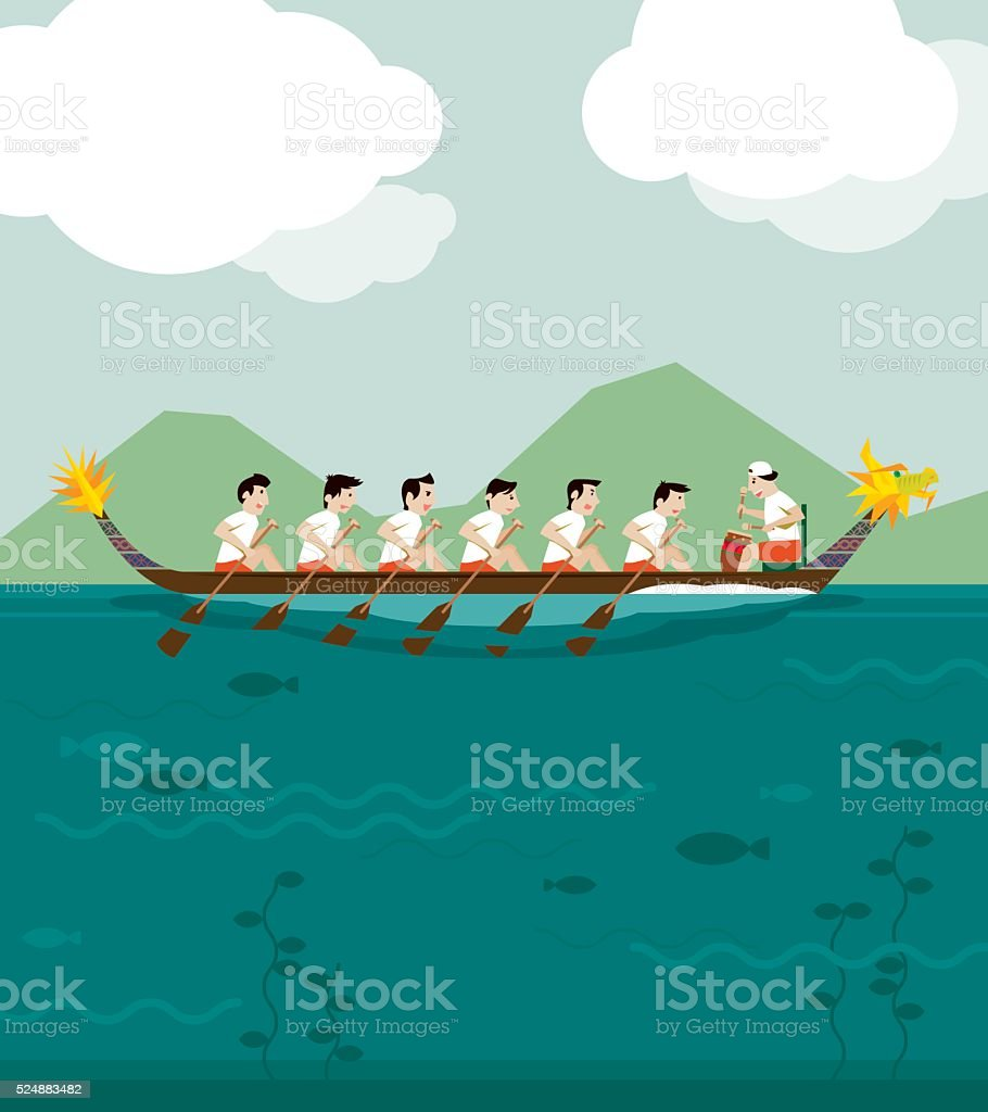 Dragon boat racing background vector art illustration