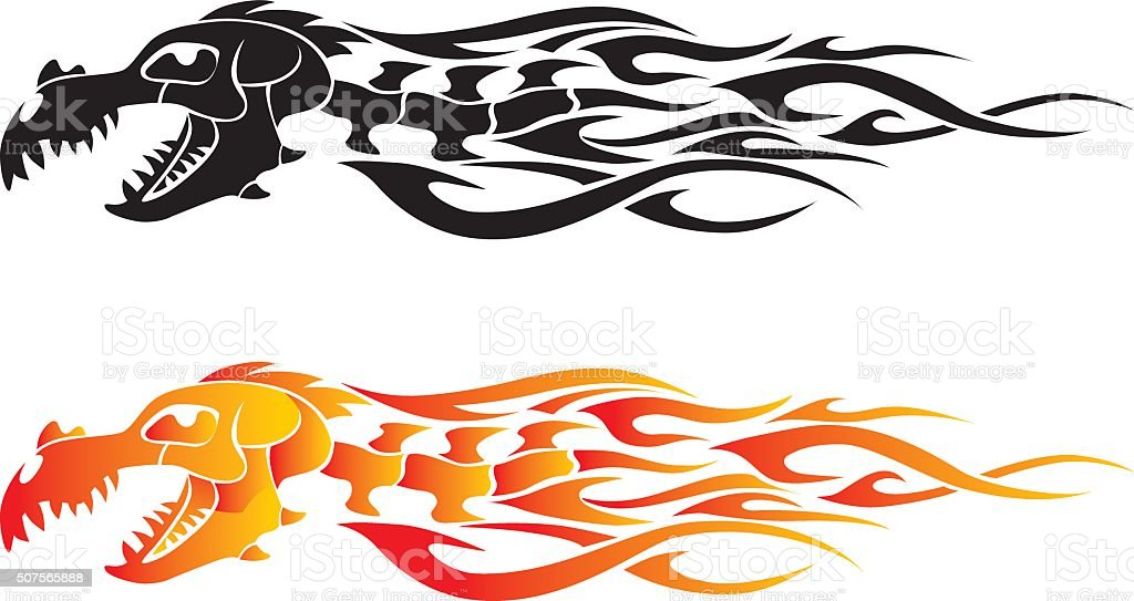 Dragon Bone Flame Tattoo vector art illustration