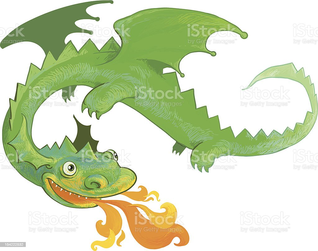 Dragon breathing fire vector art illustration
