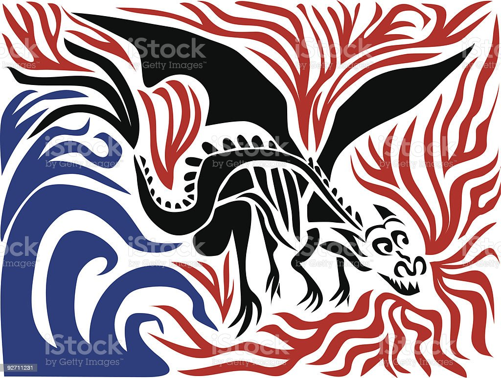 Dragon Fire and Water vector art illustration
