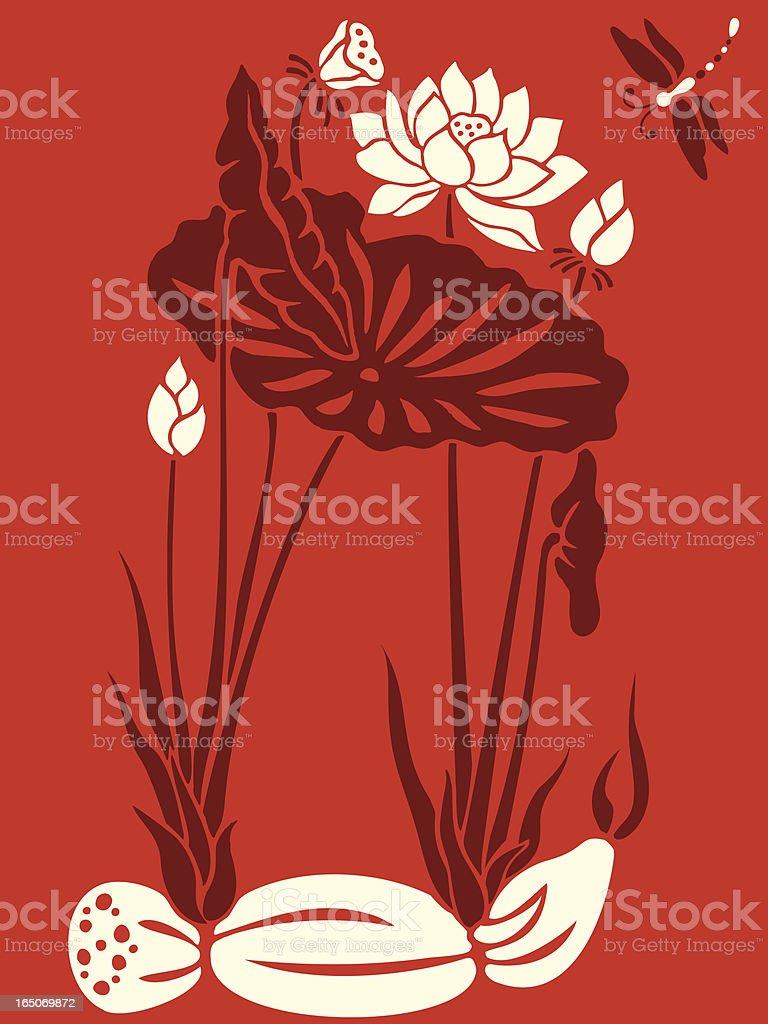 Dragon Fly & Lotus Delight royalty-free stock vector art